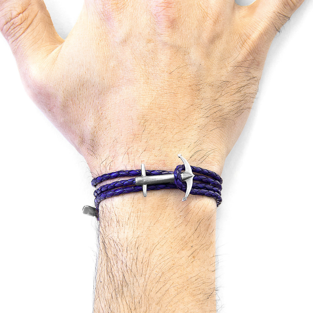 Bracelet in Silver & Leather-Grape Purple Admiral Jewelry