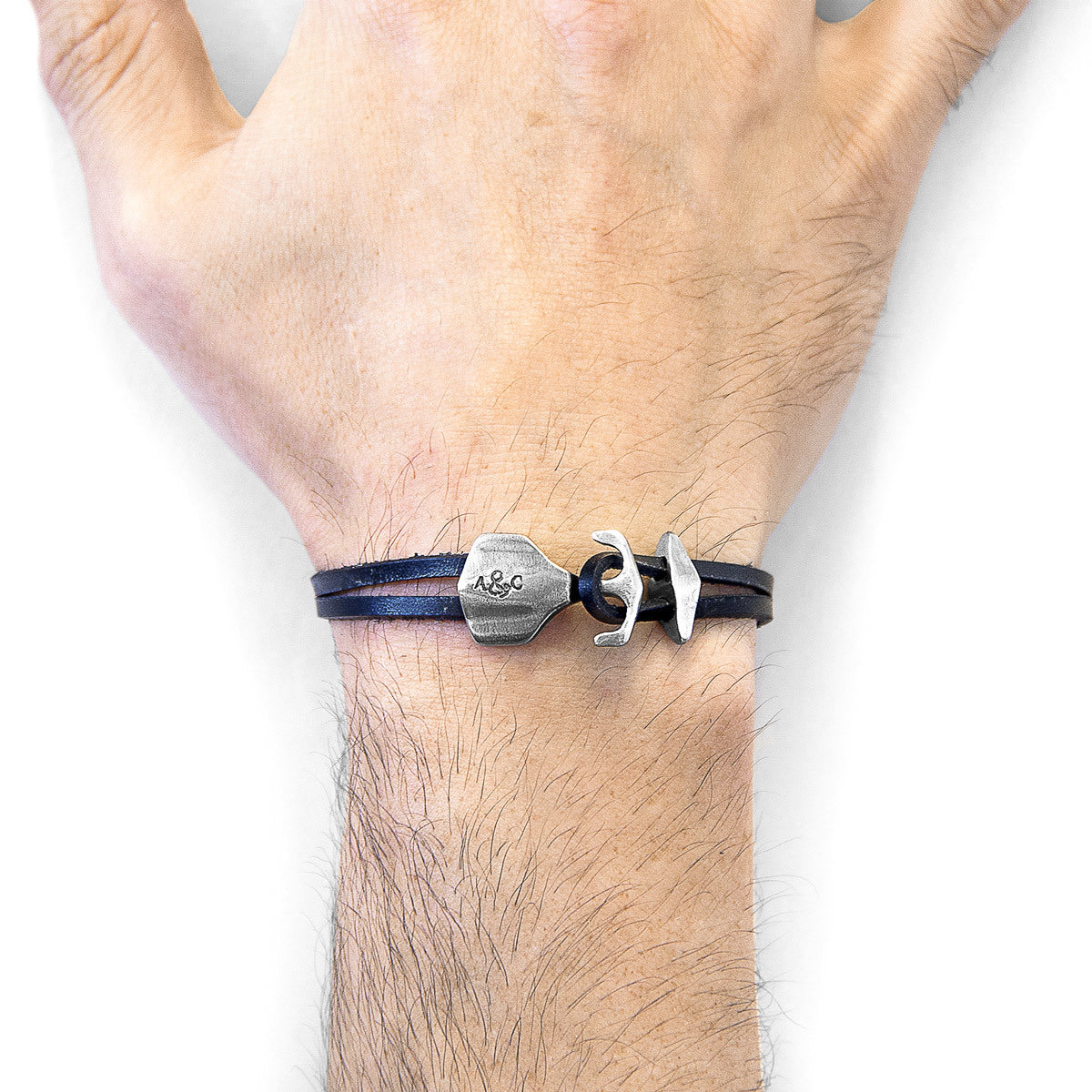 Jewelry-Coal Black Delta Anchor Silver & Leather Bracelet
