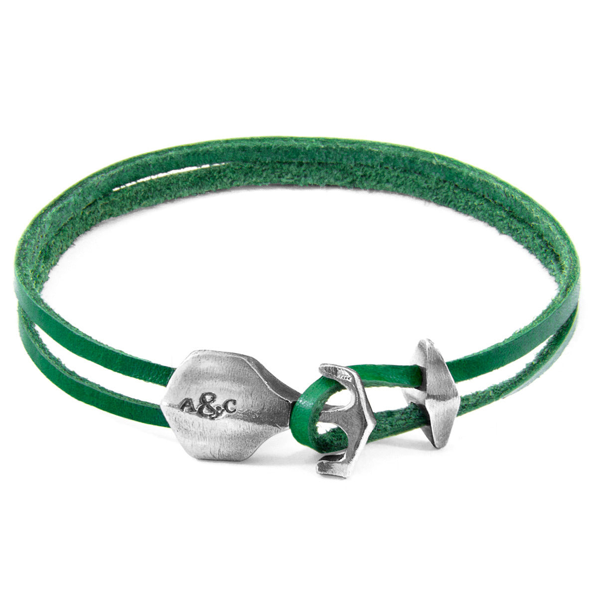 Jewelry-Fern Green Delta Anchor Silver & Leather Bracelet