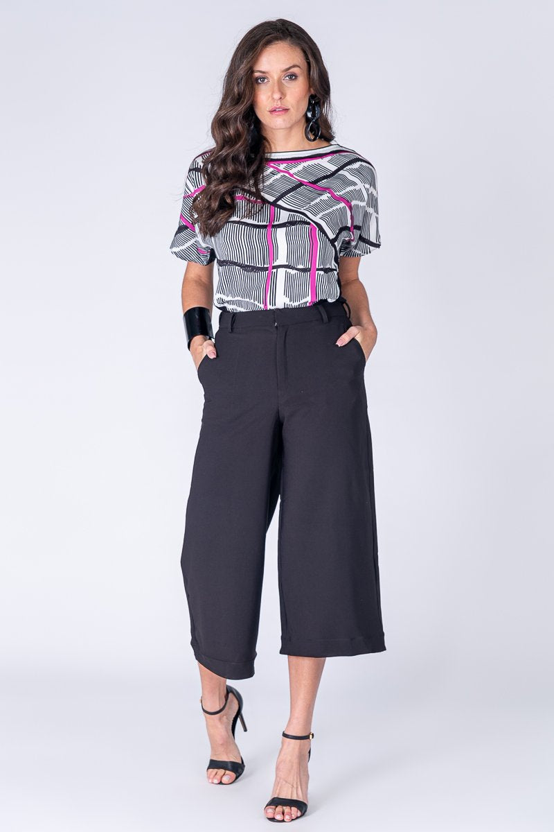 ACTIVE WEAR- FLOWING FIT PRINTED BLOUSE- Very Chic Design