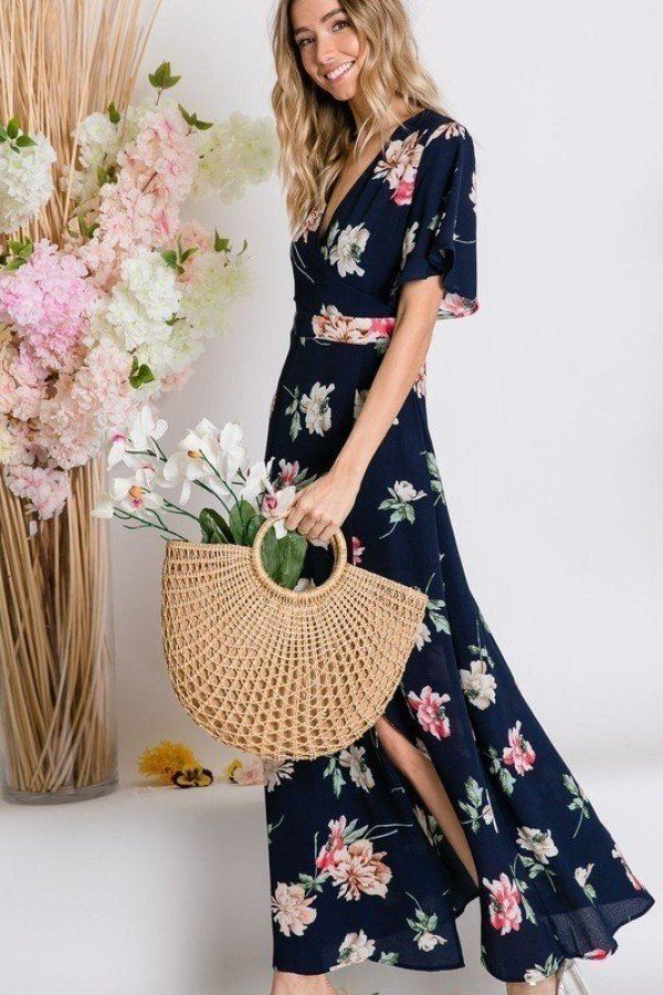 Maxi Dress Spring Floral Print Short Bell Flyaway Sleeve Wrap