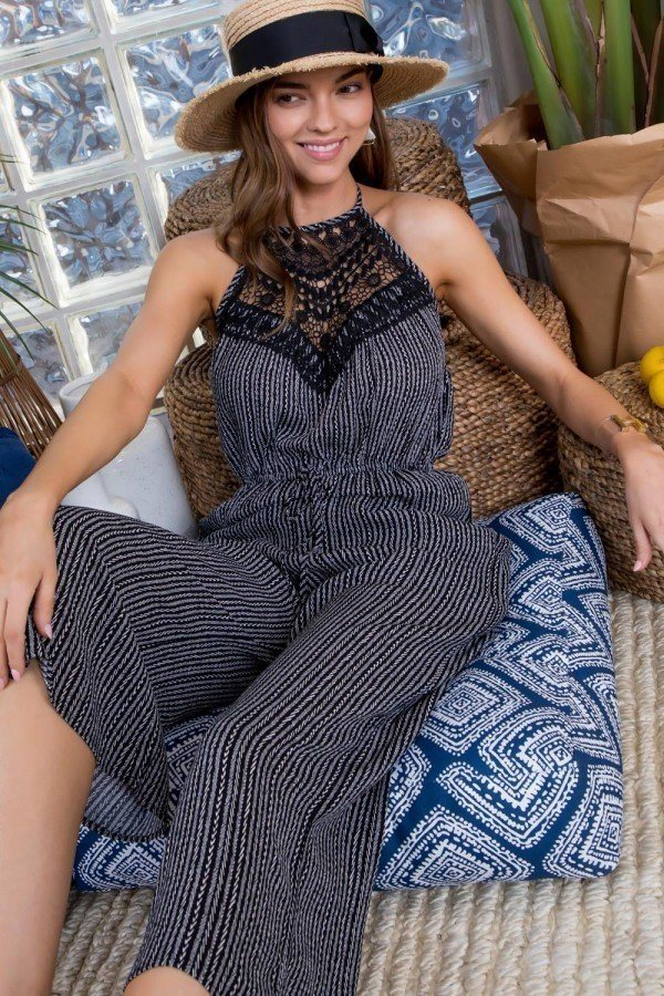 Halter Neck Front Lace Patch Detail Printed Jumpsuit