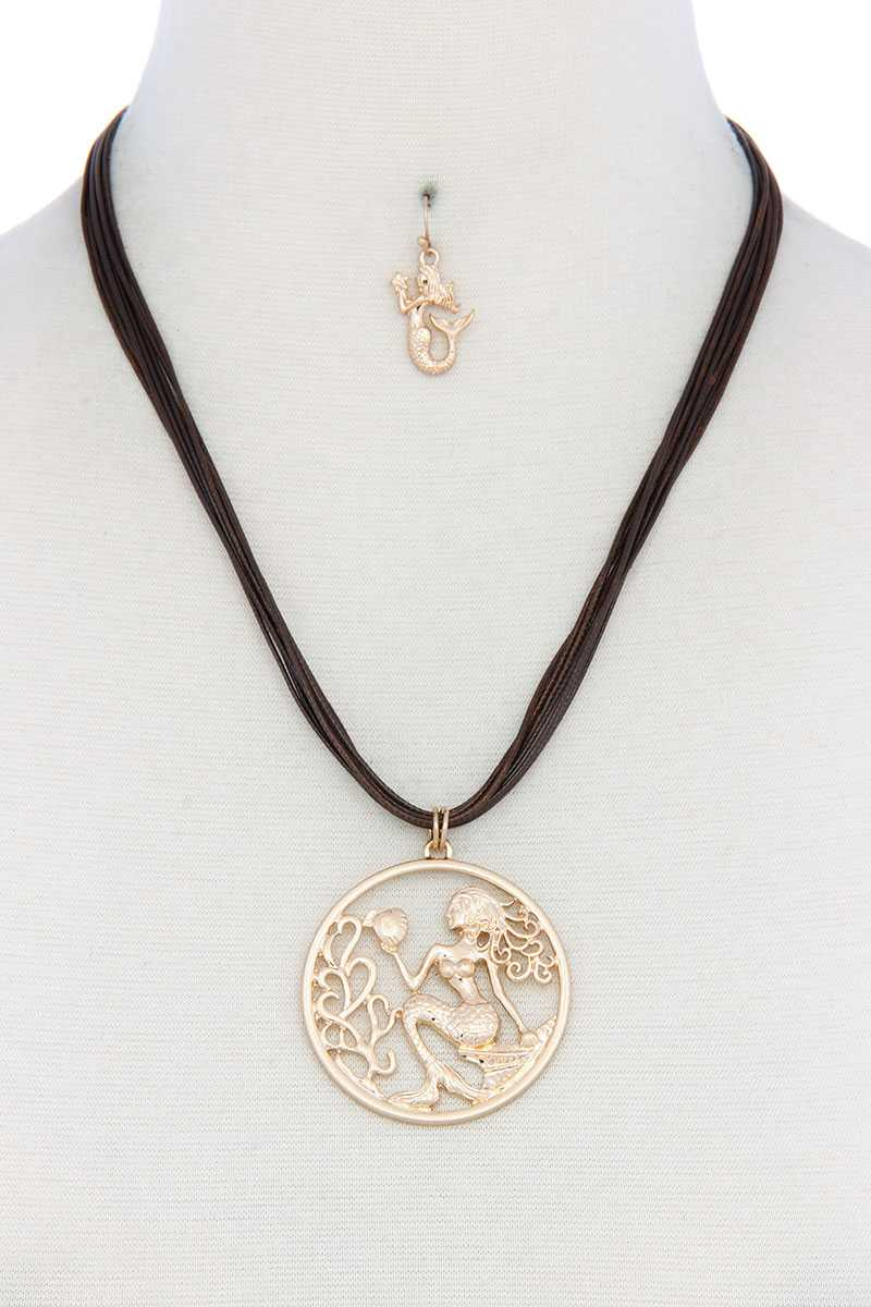 Necklace Leather Mermaid Pendant Jewelry