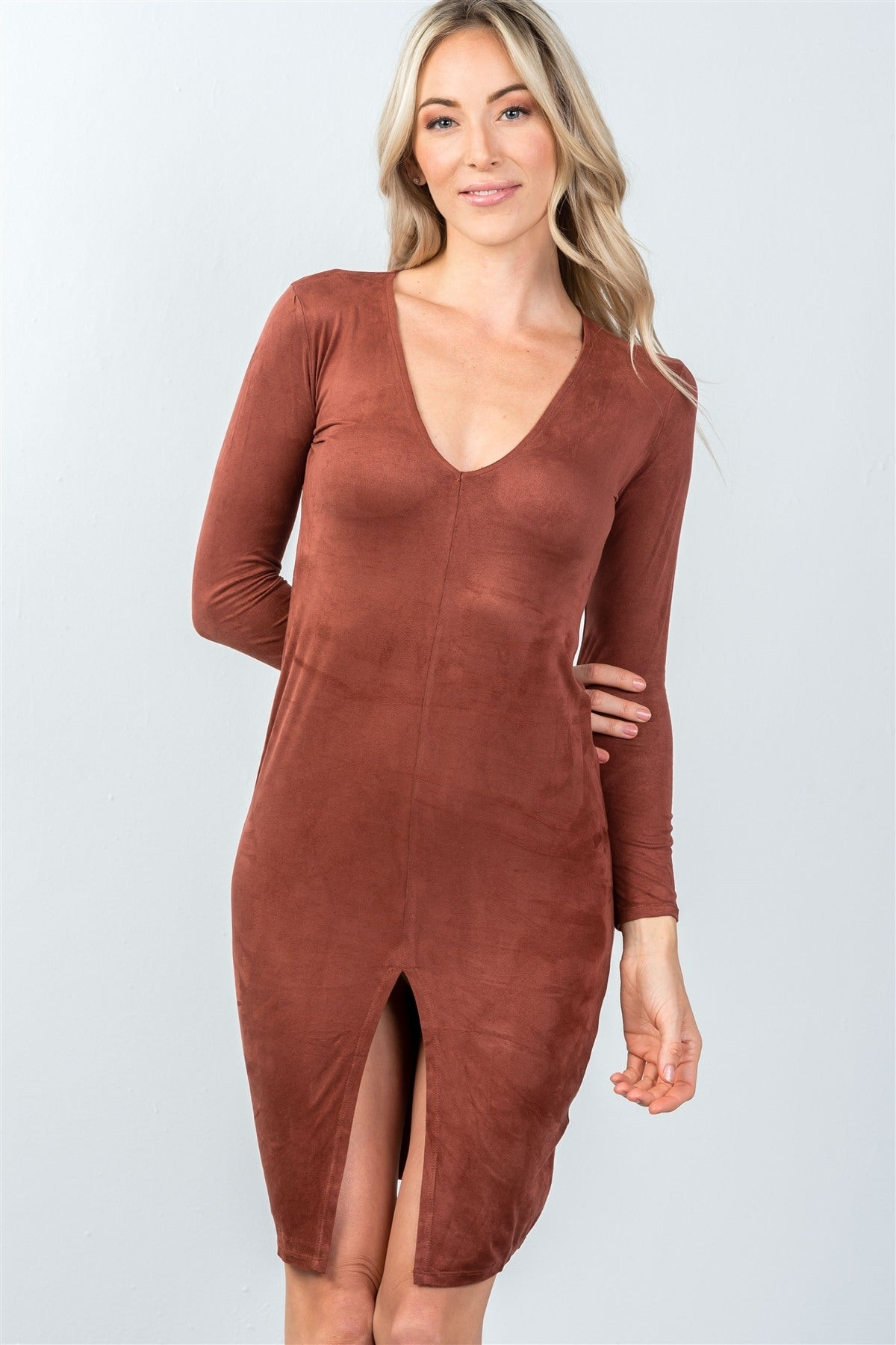 Rust Front Slit Bodycon Mini Dress