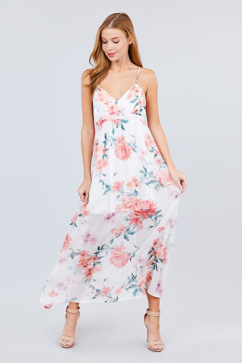 Maxi Dress Deep V-neck W/cross Strap Print