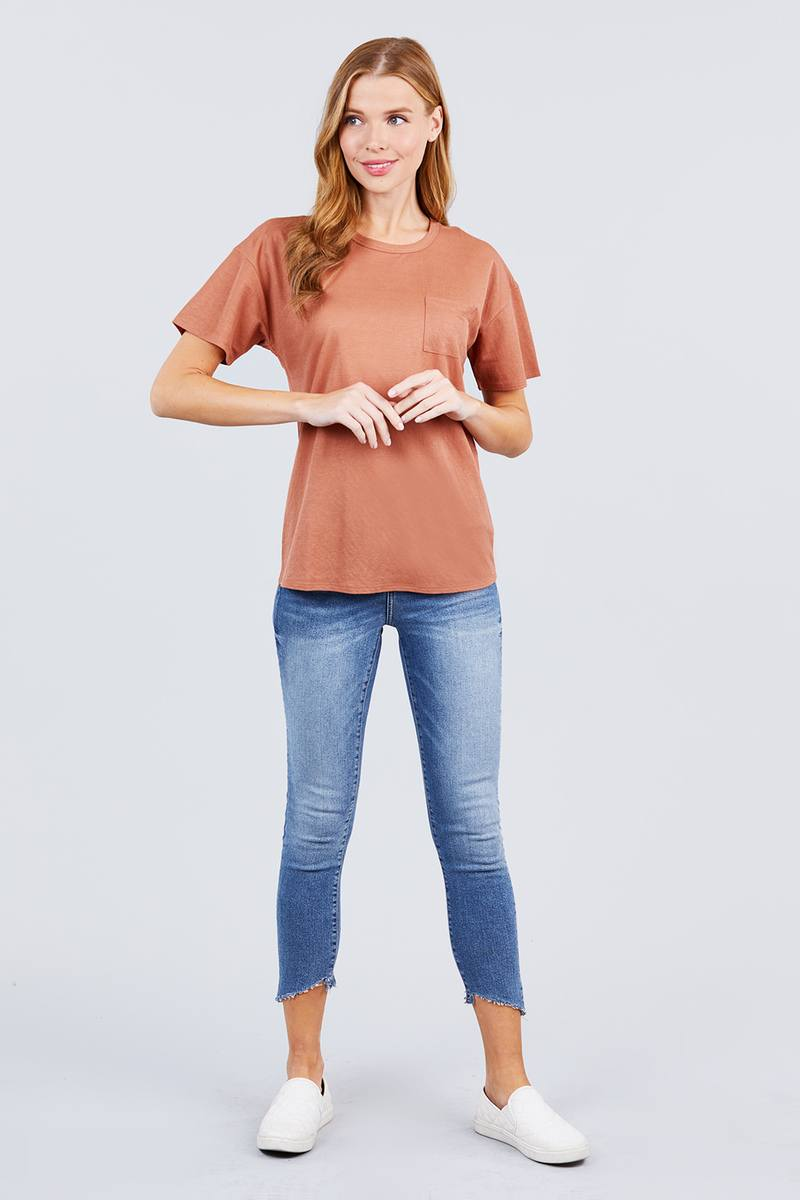 Top Short Sleeve Round Neck One Pocket Box Knit