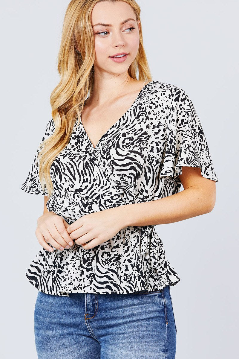 Top Ruffle Short Sleeve V-neck Surplice Side Ribbon Tie Woven