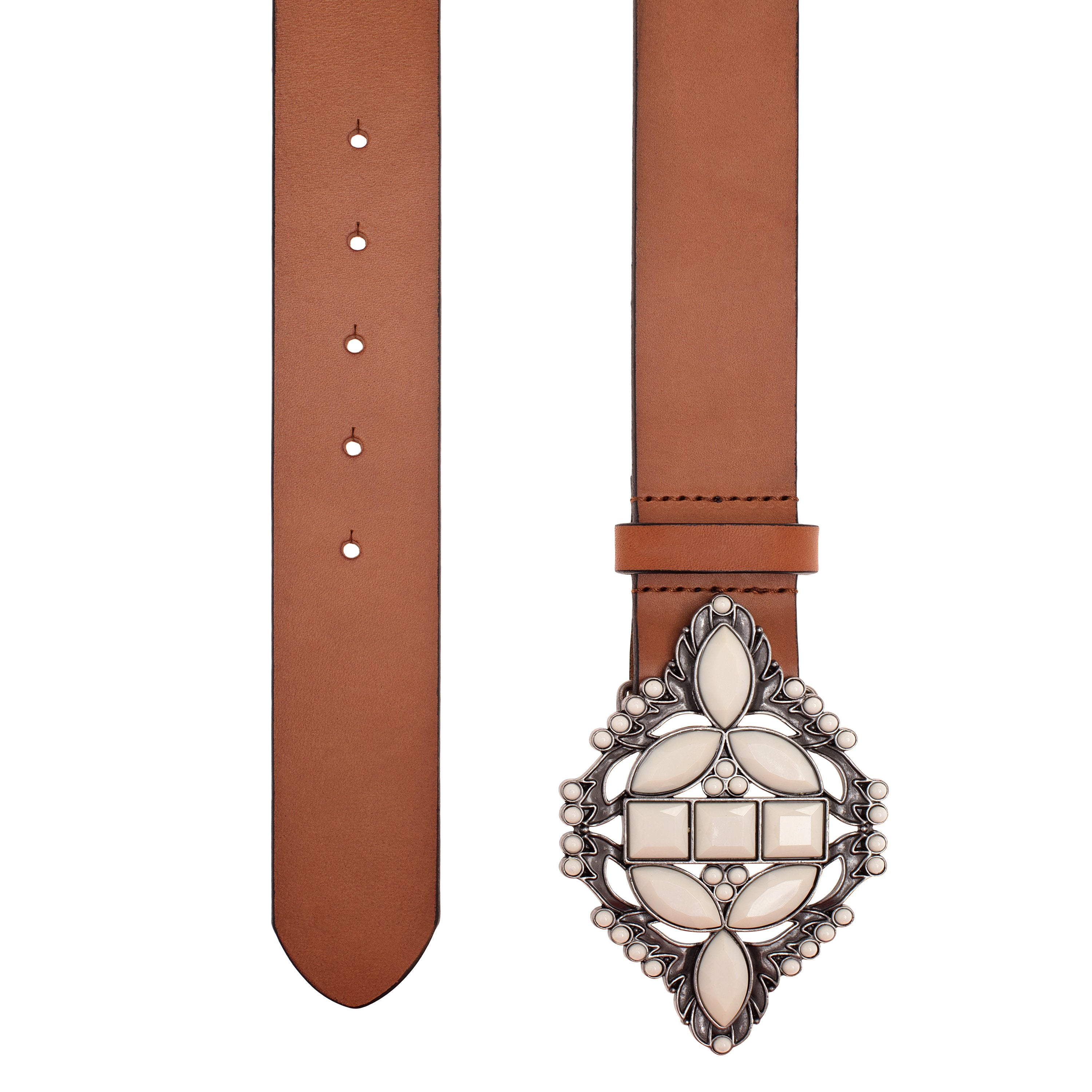 Belt Medora with Solid Off-White Stones and 100% Leather