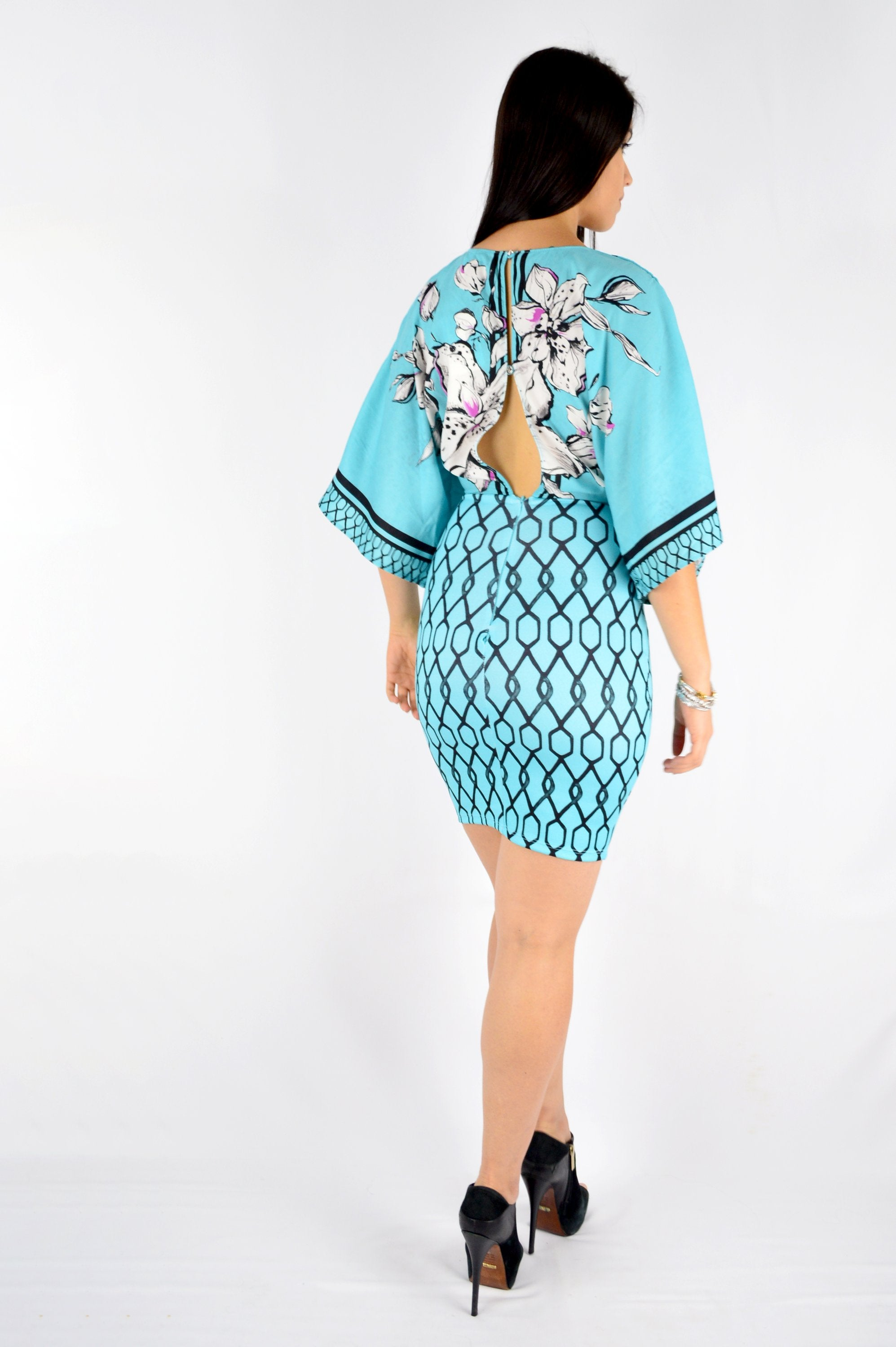 DRESS-WIDE SLEEVE PRINTED in TEAL