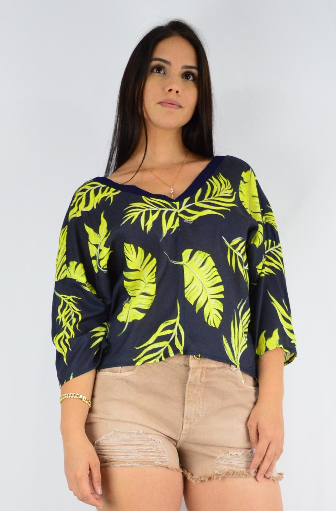 ACTIVE WEAR-PRINTED BLACK AND YELLOW GREEN BLOUSE
