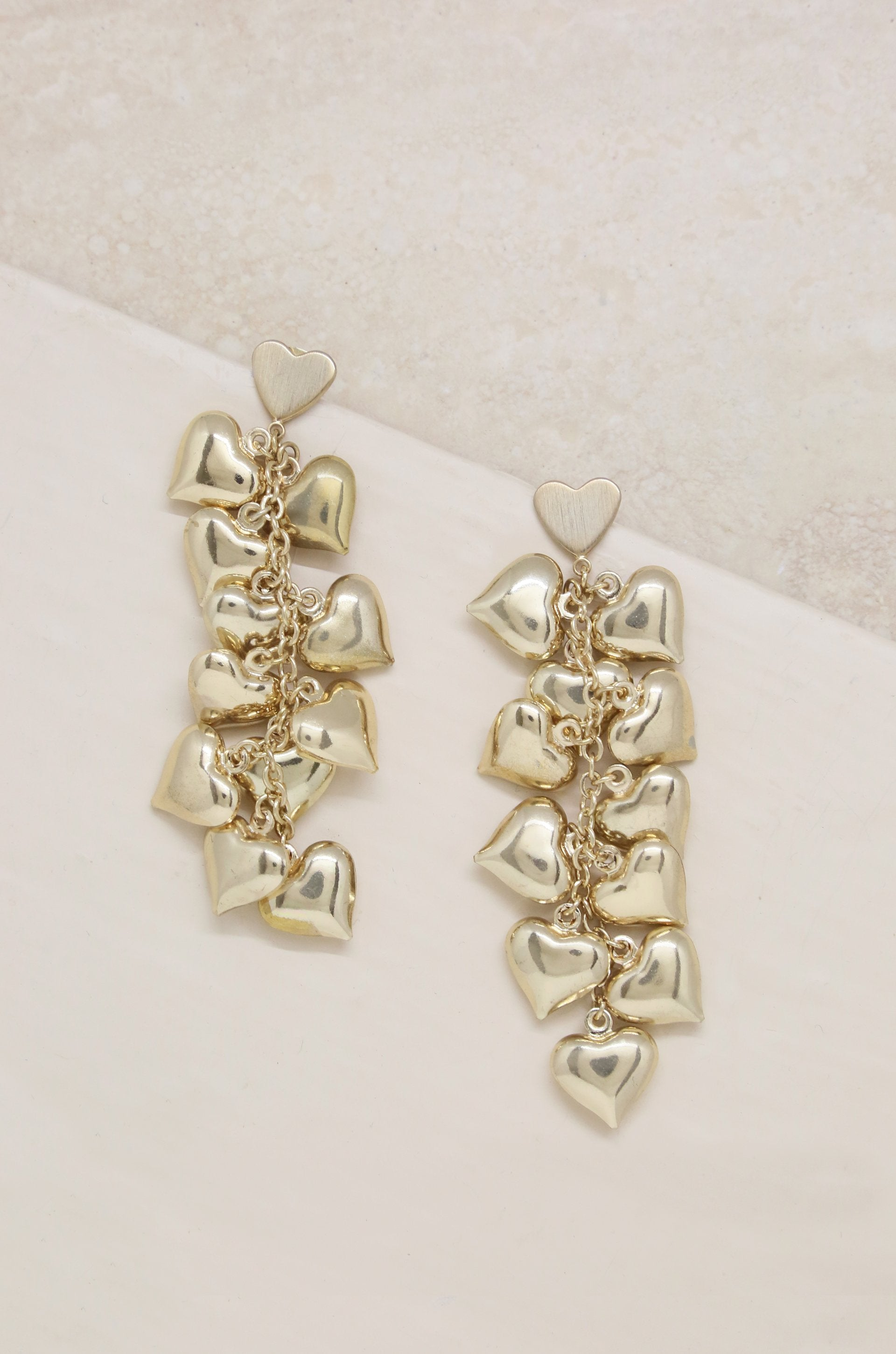 Earrings Heart Cluster 18k Gold Plated Drop Jewelry