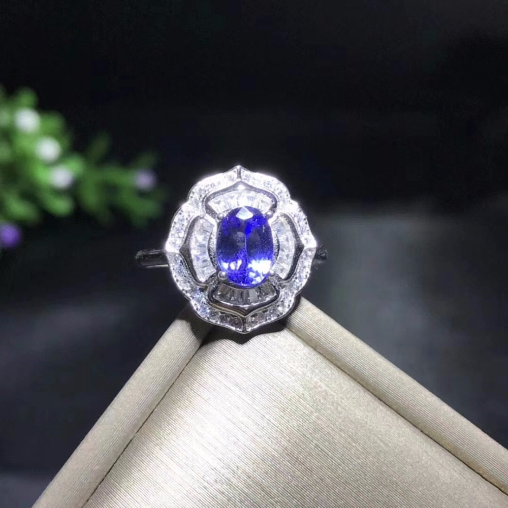 Ring in Natural Tested Tanzanite Gemstone Ring, 925 Sterling Silver