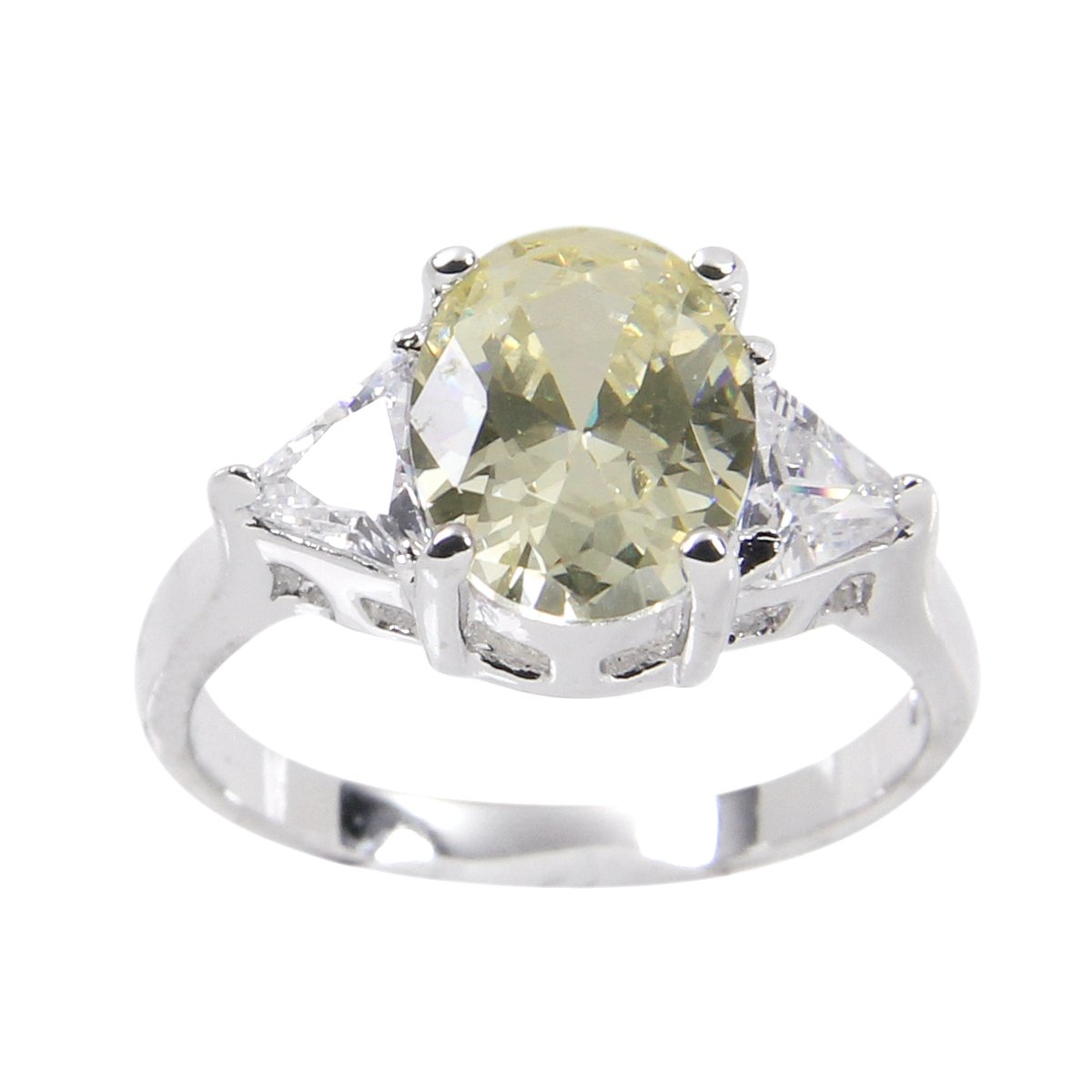 Ring-Three Stone Ring with Pale Yellow Cubic Zirconium