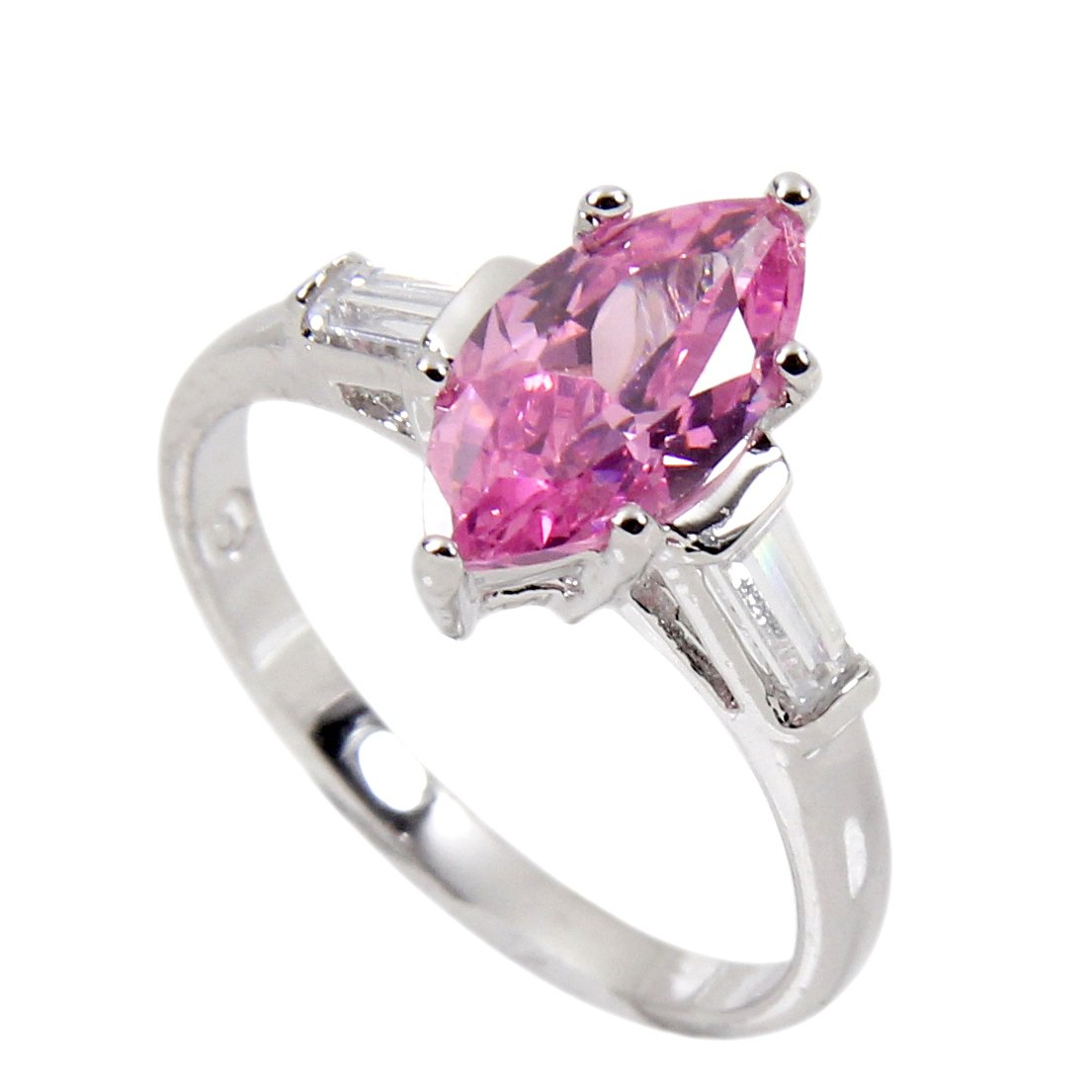 Ring Sterling Silver With Luscious Pink Marquis