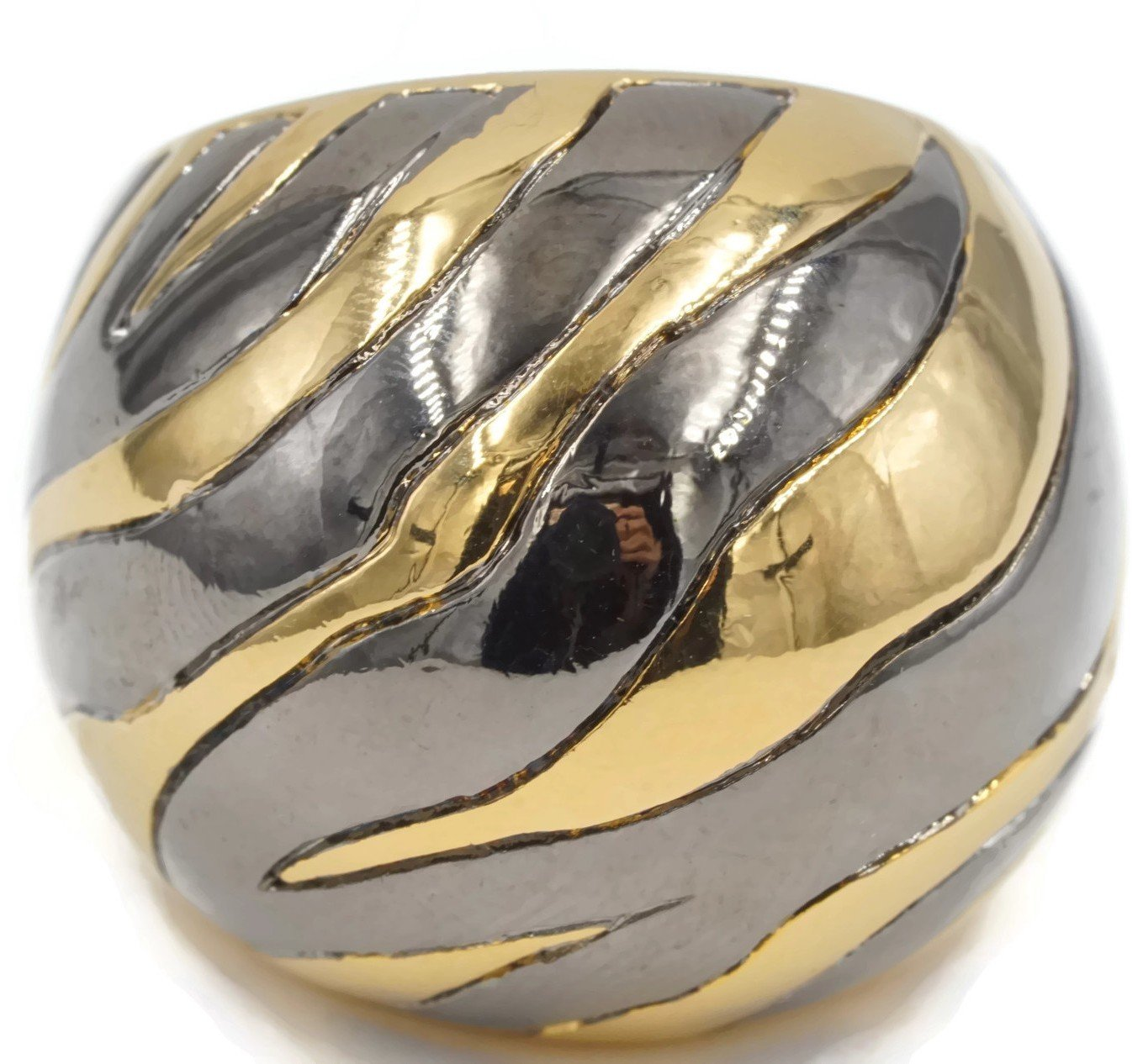 Ring is Big Solid Dome Zebra Stripe in Gold Tone