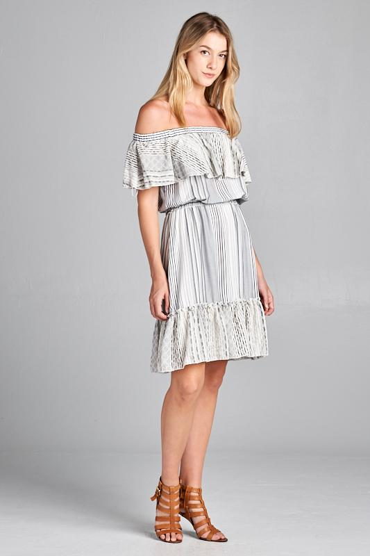 DRESS-OFF THE SHOULDER DRESS WITH RUFFLE DETAIL