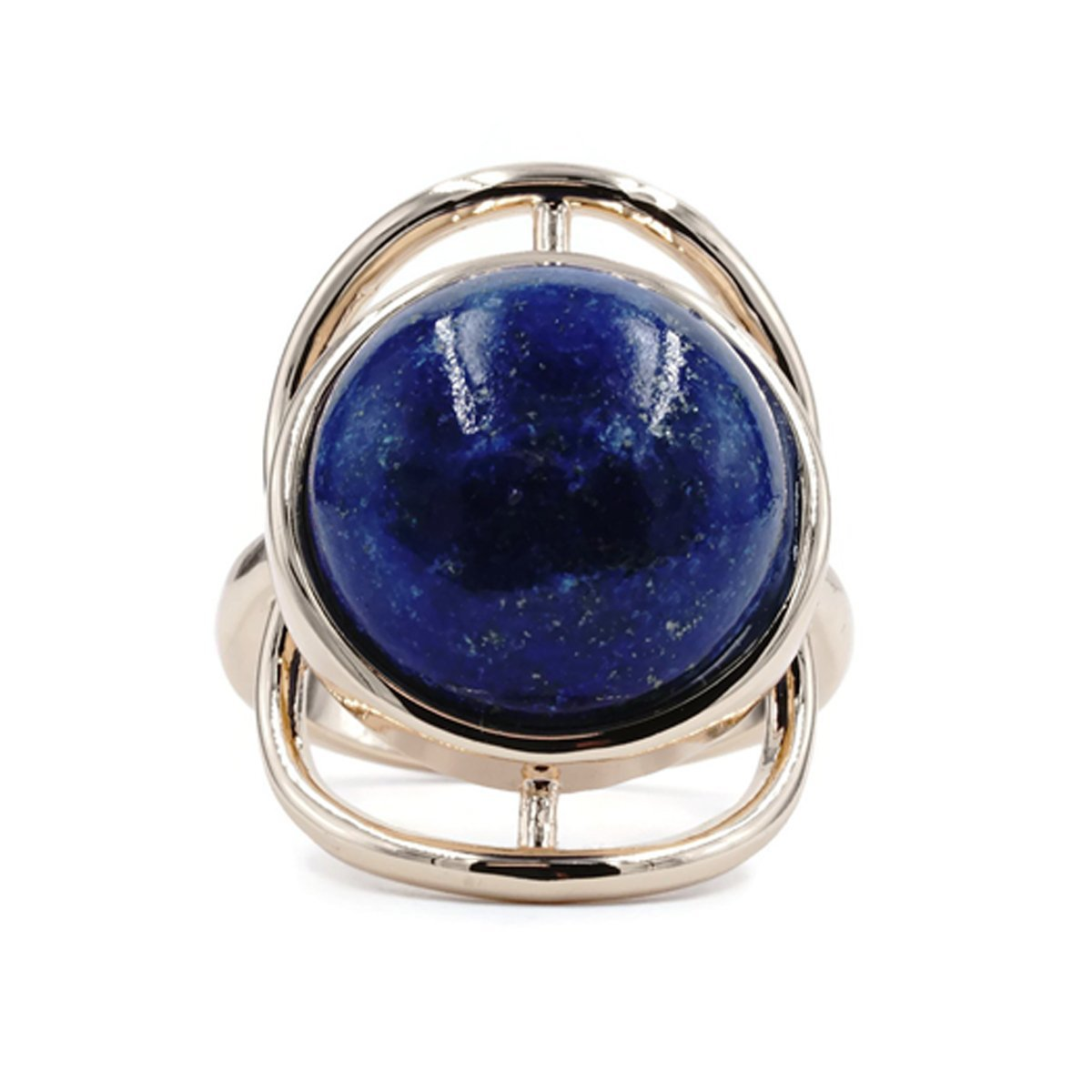Ring in Trendy Genuine Lapis Stone Gold Tone