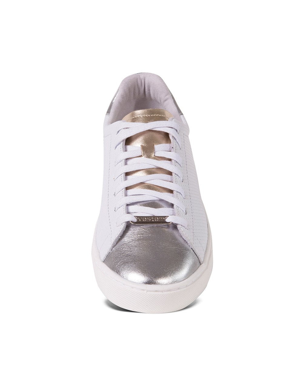 Shoes-SNEAKERS SLIM WHITE with SILVER TIP