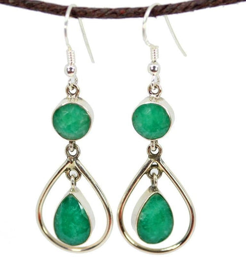 Earrings Round and Pear Shaped Green Quartz Jewelry