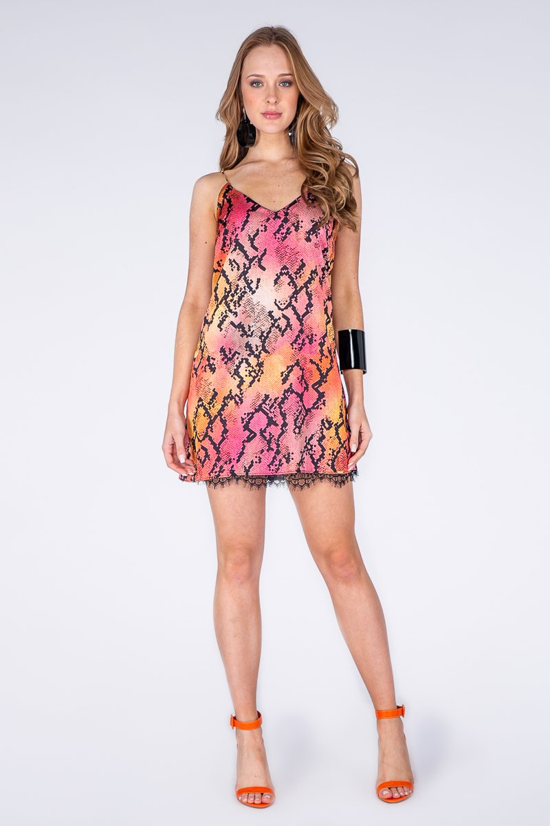 DRESS-SNAKESKIN DESIGN SLIP DRESS