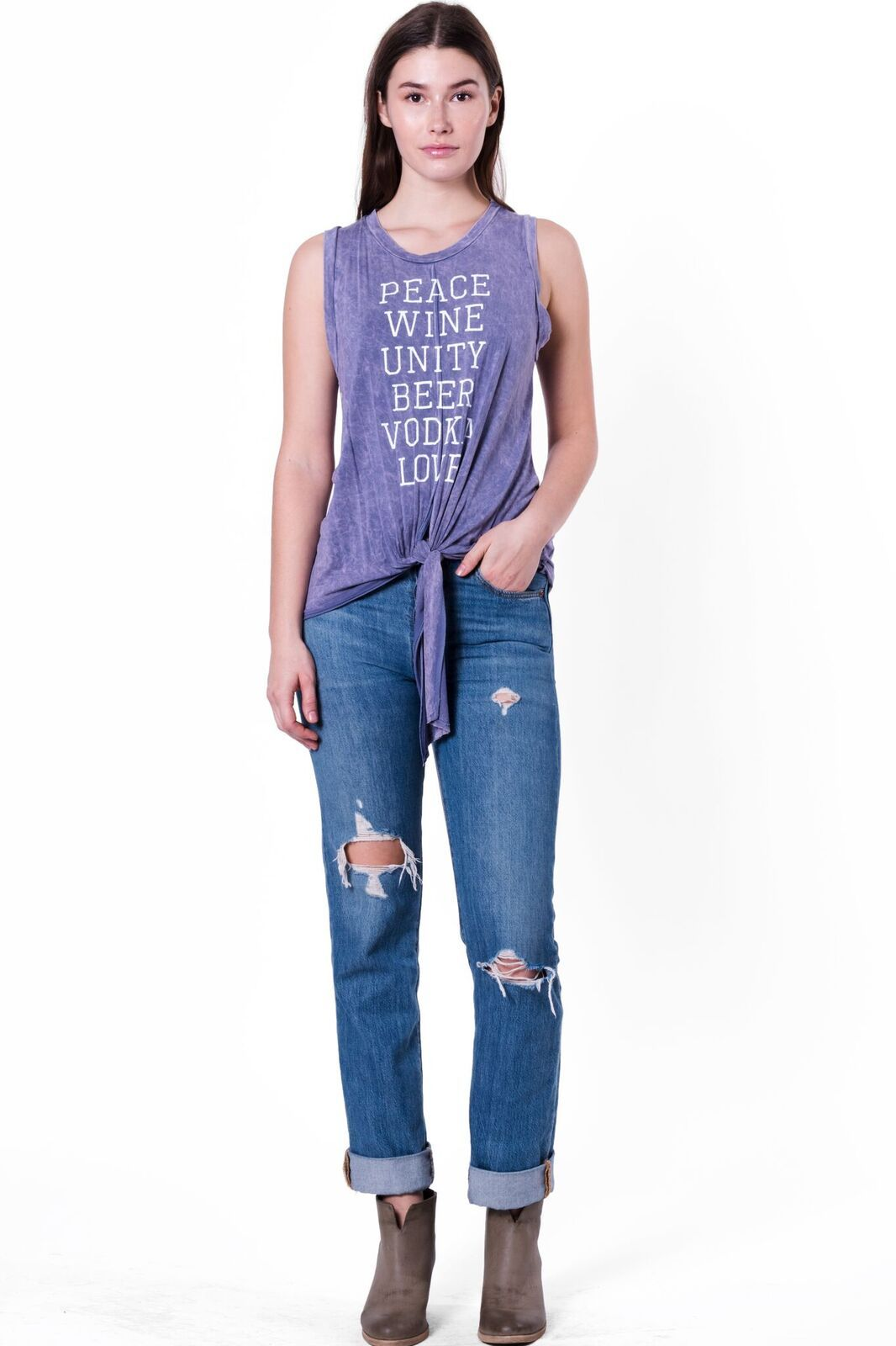 Top Peace,love,unity Tie Tank