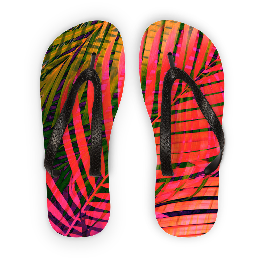 SHOES-COLORFUL TROPICAL LEAVES FLIP FLOPS