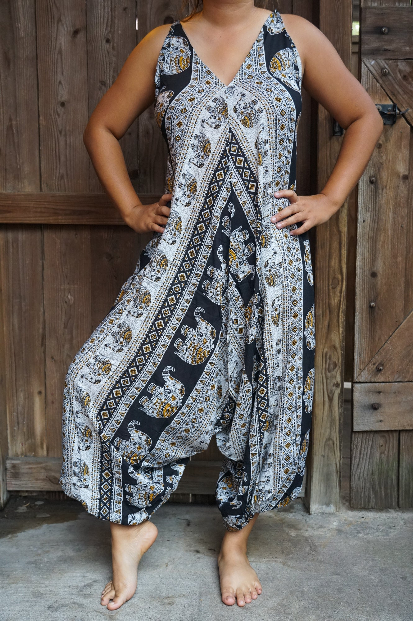Jumpsuit Black Elephant Boho Hippie  Rompers