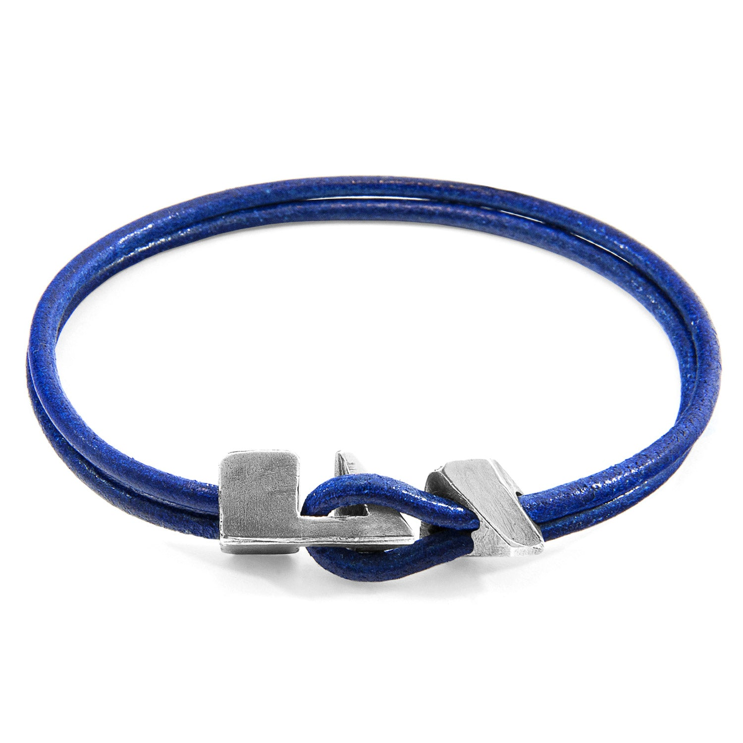 Jewelry-Azure Blue Brigham Silver & Leather Bracelet