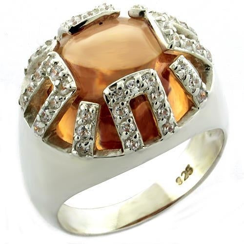 Ring in Amber Champagne  Rhodium 925 in Sterling Silver