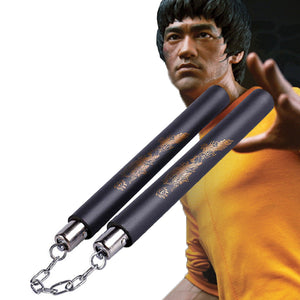 Bruce Lee Kung Fu Nunchakus With Dragon Sponge Nunchaku For Children Adult Martial Arts Wushu Training Fitness Workout Equiment