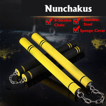 Load image into Gallery viewer, for Beginners Black yellow Durable nunchakus Martial Arts Nunchakus Weapon Foam Metal Chain Safe Sponge Nunchucks