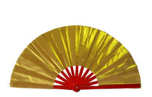Load image into Gallery viewer, High grade Bamboo Taichi Fan with bag Double Sided Chinese Kung Fu Performance Fan Red/Golden Martial Arts Fans Eight Diagram