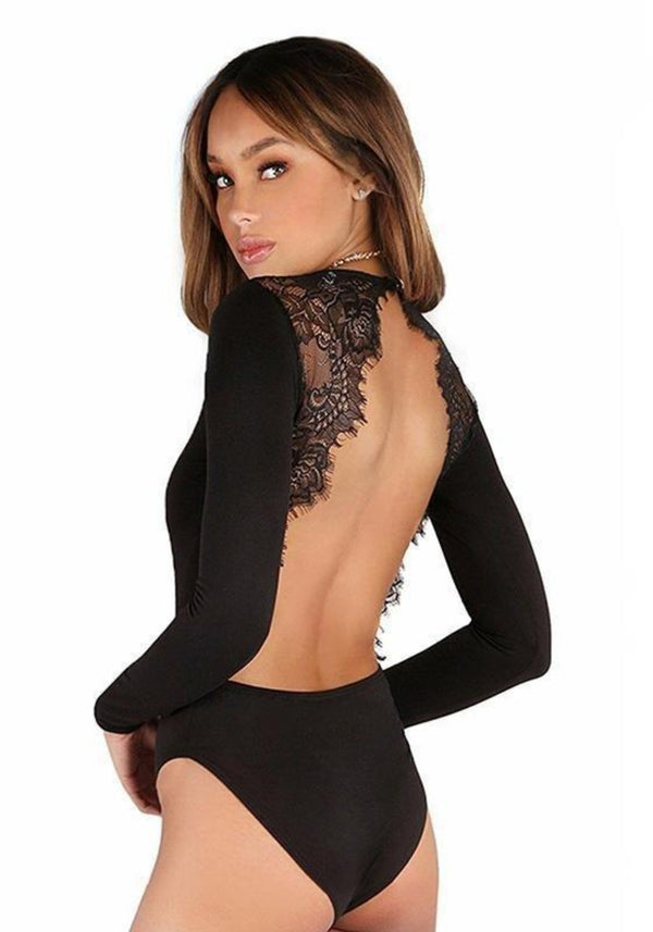 Myra's Decent Black Bodysuit with open Back - Plengood