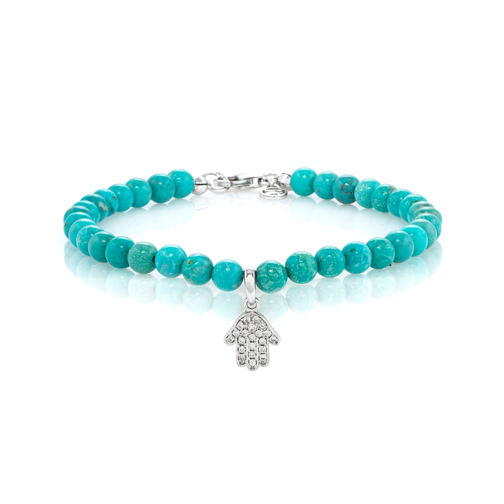 White Diamond Dangling Baby Hamsa with Large Turquoise Beads