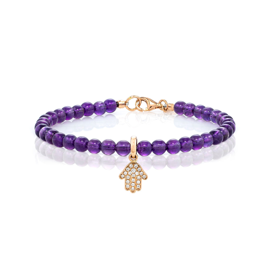 White Diamond Dangling Baby Hamsa with Small Amethyst Beads