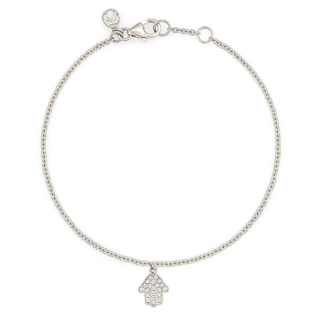 White Diamond Dangling Baby Hamsa Bracelet