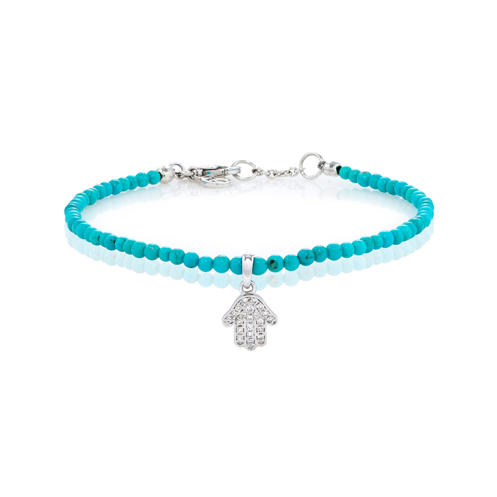 White Diamond Dangling Baby Hamsa with Small Turquoise Beads