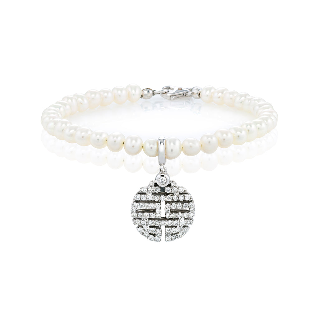 White Diamond Double Happiness Bracelet with Pearls