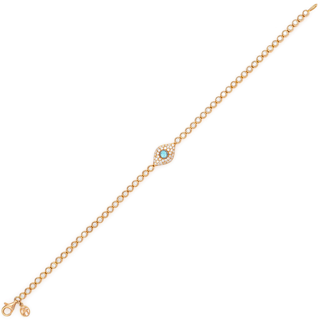 Full Diamond Evil Eye with Diamond Chain