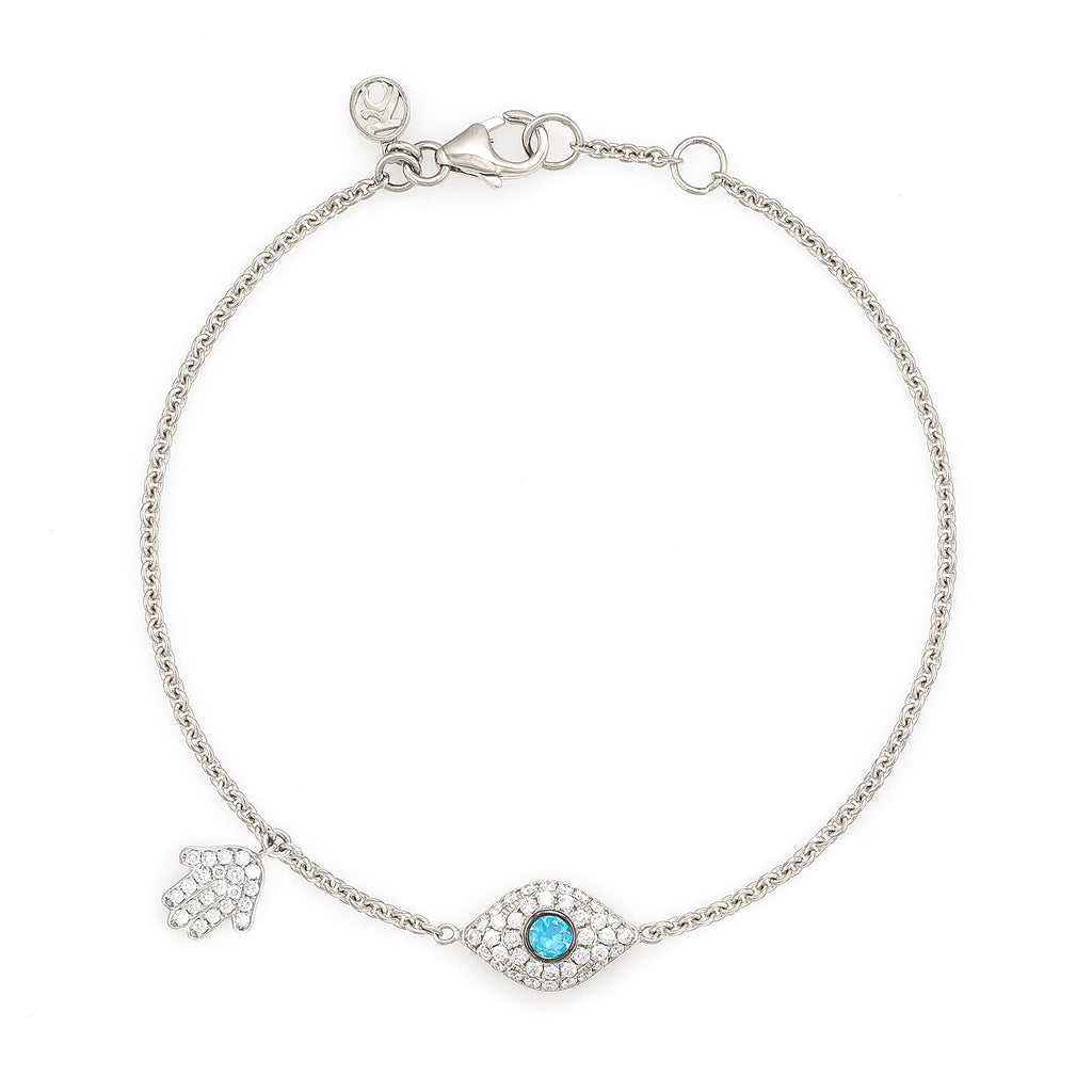 Diamond & Aquamarine Full Evil Eye with Dangling Baby Hamsa Bracelet