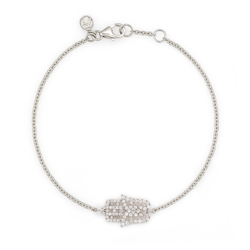 White Diamond Small Oriental Hamsa Bracelet