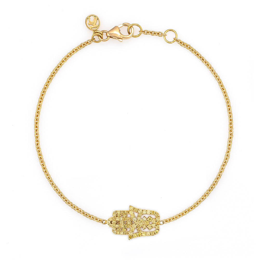 Yellow Diamond Small Oriental Hamsa Bracelet