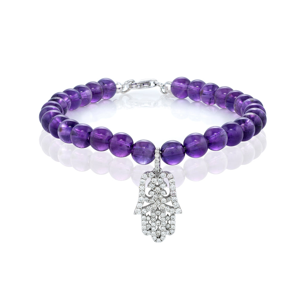 White Diamond Small Oriental Hamsa with Large Amethyst Beads