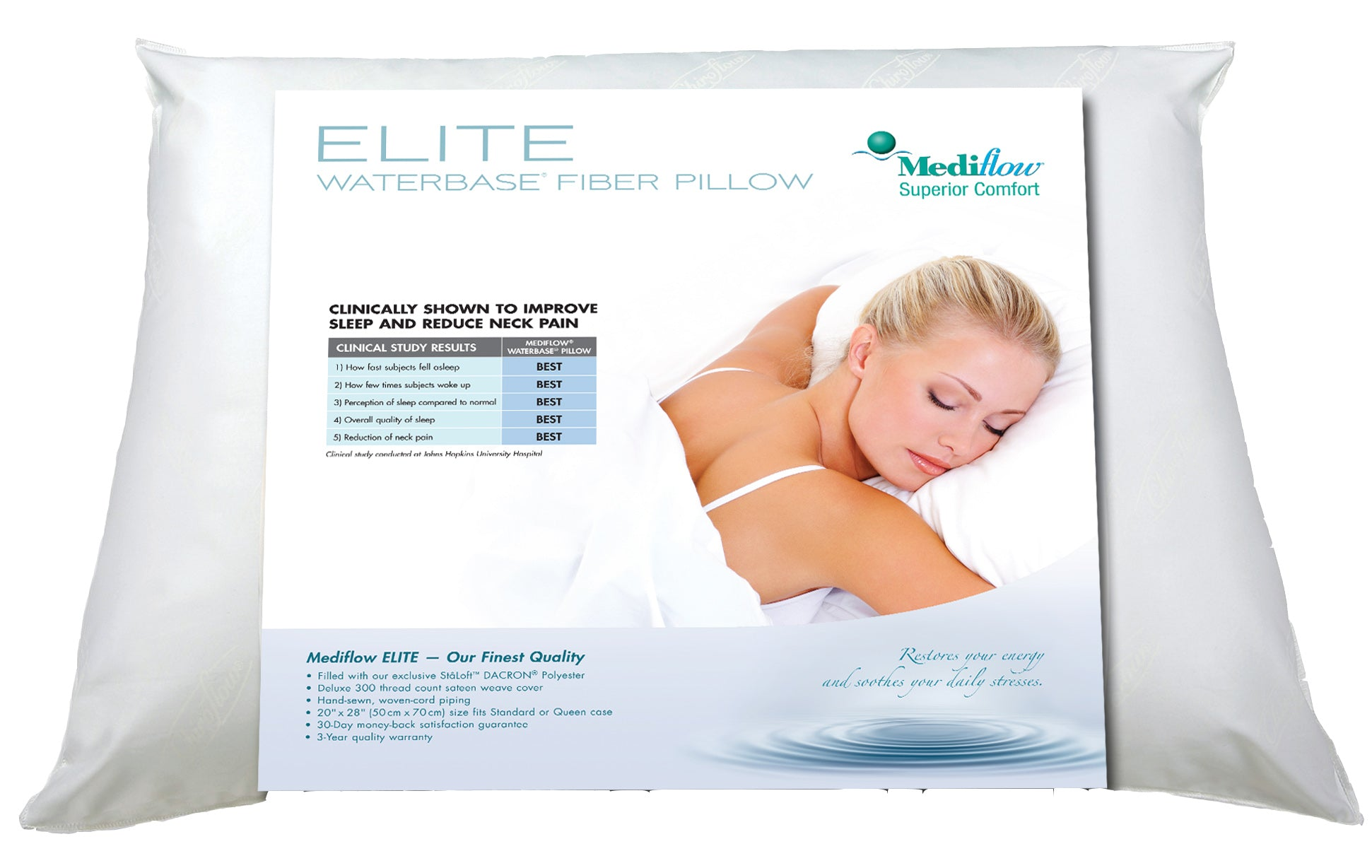 Elite Waterbase Pillow | Therapeutic Neck Pain Relief | Mediflow