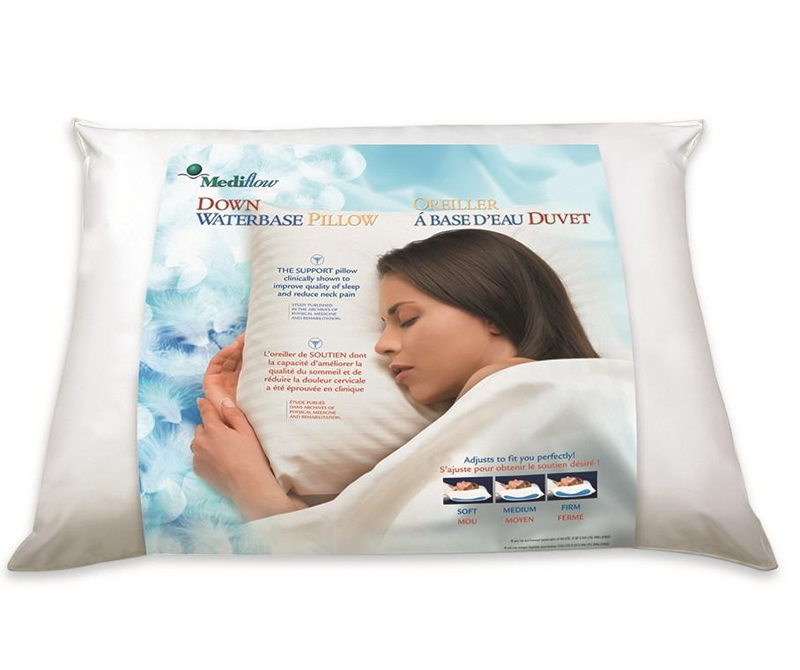 The Water Pillow's down filled pillows offer you a plump layer of all natural Hypoallergenic Down providing exceptional comfort for your head. The down floats on a thin layer of water for responsive support. The Water Pillow is clinically proven to reduce neck pain and improve quality of sleep.