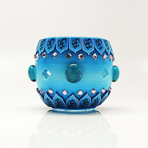 Blue Bejeweled Votive Candle Holder