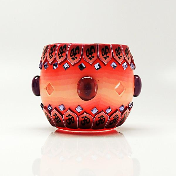 Red Bejeweled Votive Candle Holder - Paradise Station