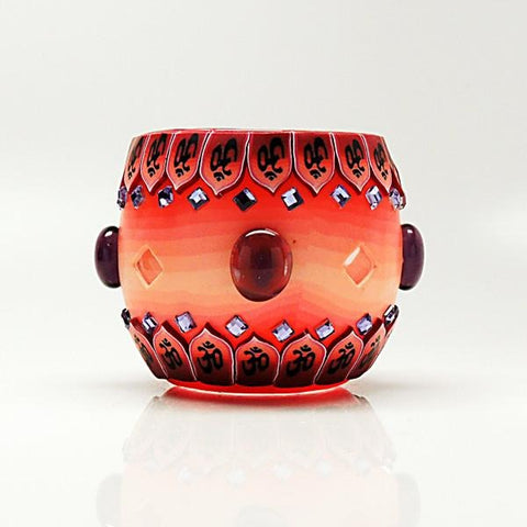 Red Bejeweled Votive Candle Holder
