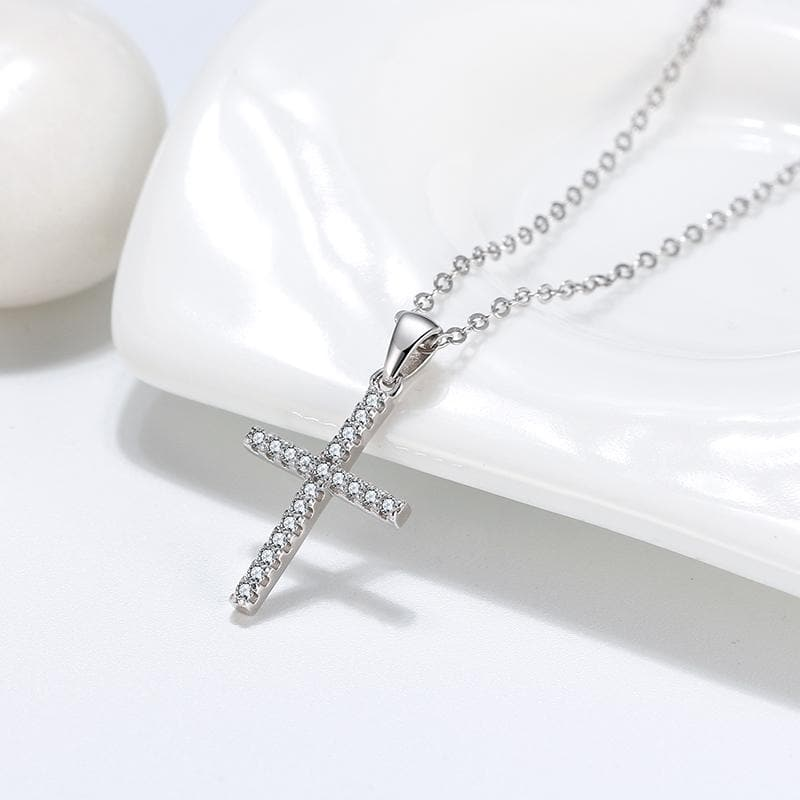 Sterling Silver Fine Sterling Silver Necklace of Real Silver Stamped 925 with Semi Precious Cross