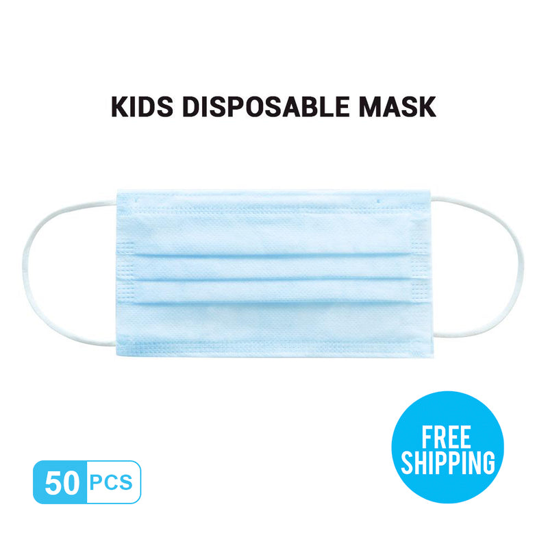 Baby-blue Kid's Breathable Activated Carbon Disposable Mask 50pcs